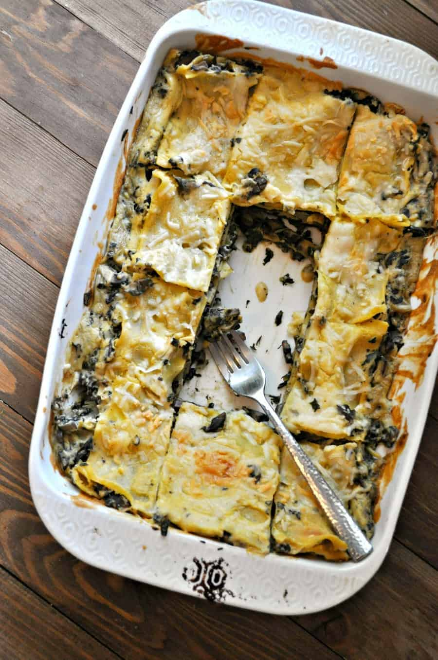VEGAN SPINACH AND MUSHROOM WHITE LASAGNA RABBIT AND WOLVES