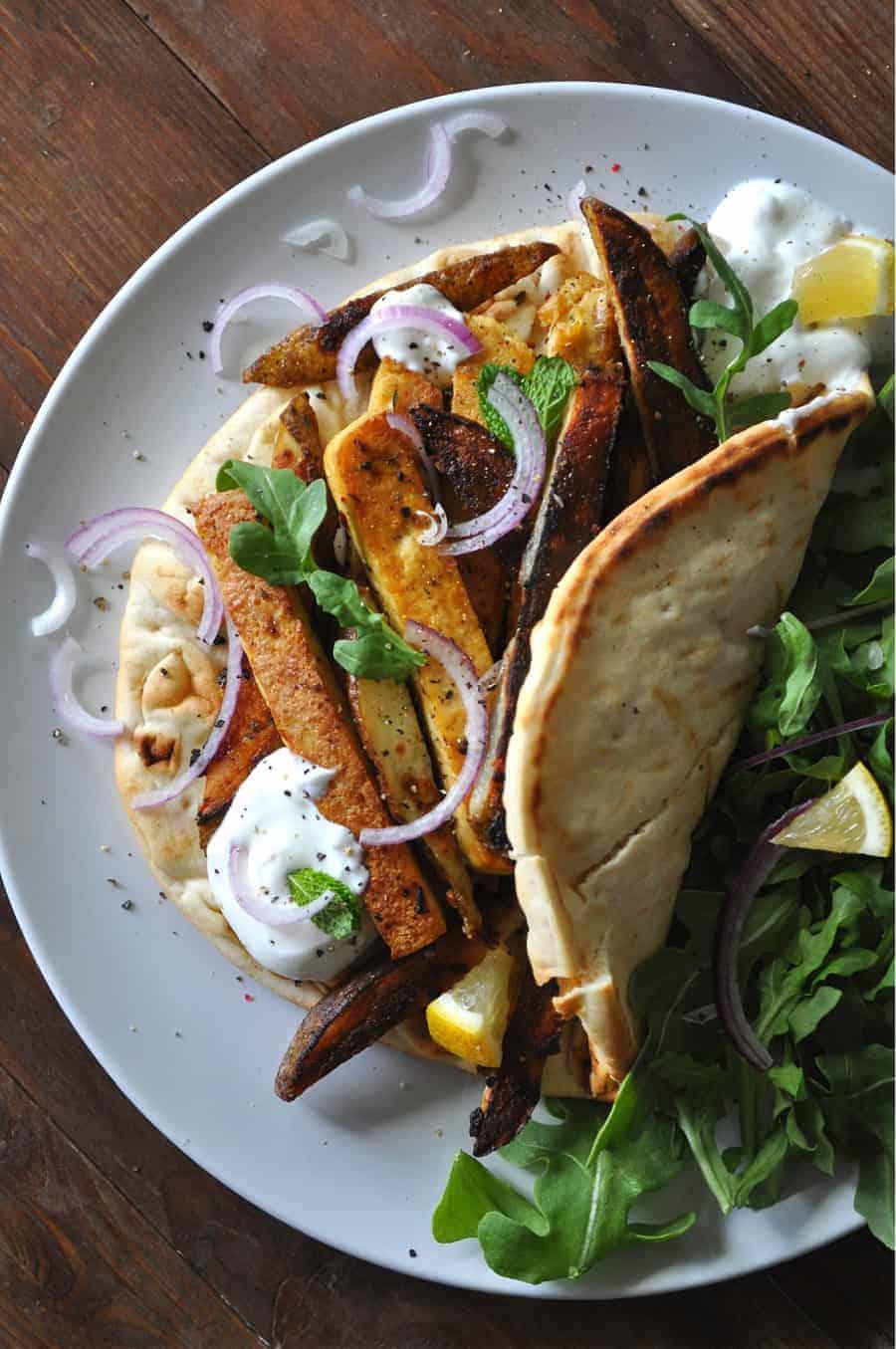 Vegan Greek Tofu and Fry Wraps