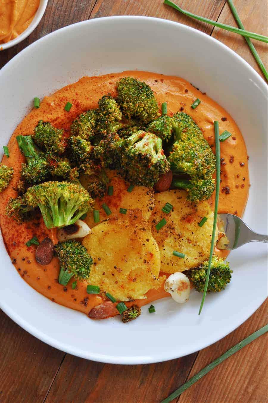 roasted broccoli with vegan romesco sauce