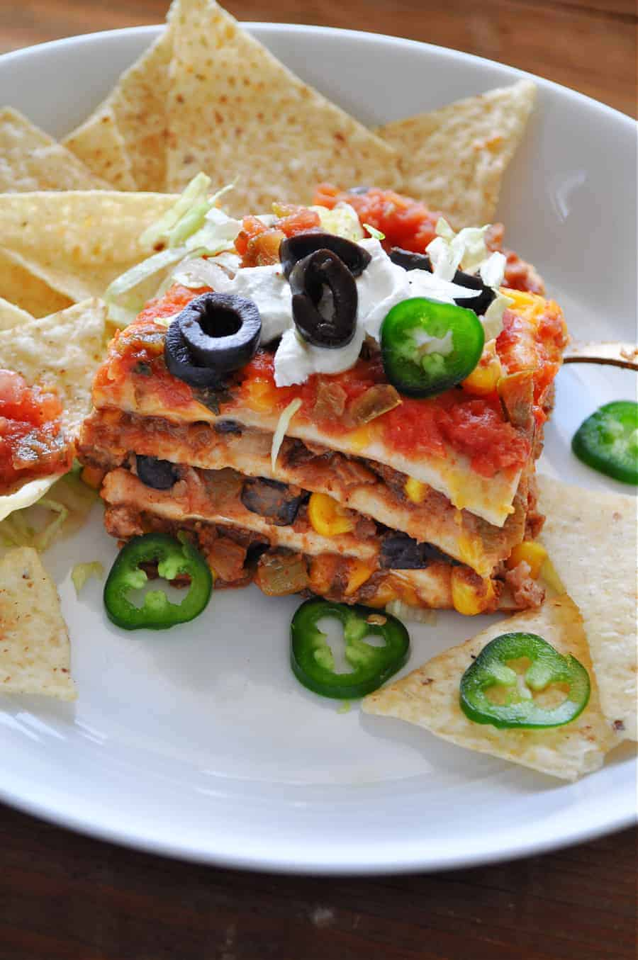 vegan taco casserole side view