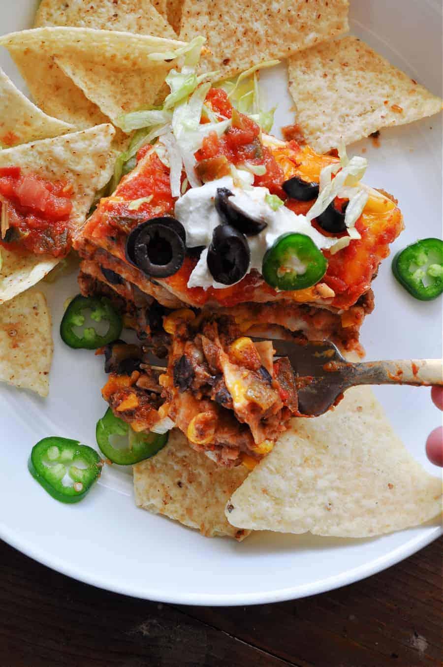 vegan taco casserole slice